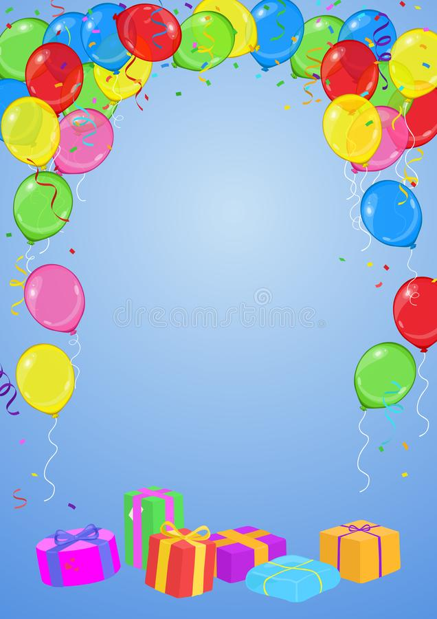 Карта дня рождения вектора или приглашения партии с воздушными шарами, лентами, confetti и настоящими моментами на голубой предпо иллюстрация штока