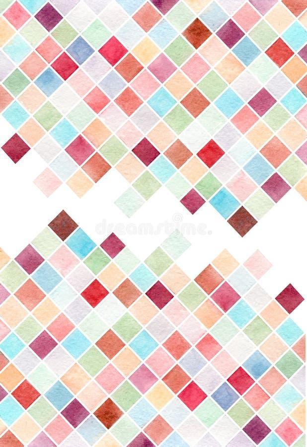 Карта свадьбы предпосылки акварели конспекта красочная, визитная карточка, геометрия, диаманты иллюстрация вектора