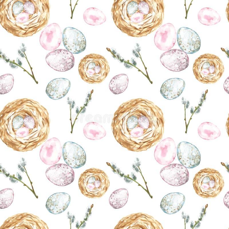 Картина акварели безшовная с символами весны и праздника пасхи, яя, гнезда птицы и ветви дерева на белой предпосылке иллюстрация вектора