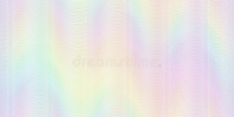 Картина банкноты водяного знака Банкноты проверяют линии текстуру, безопасные картины волн и вектор guilloche бумаги паспорта бесплатная иллюстрация