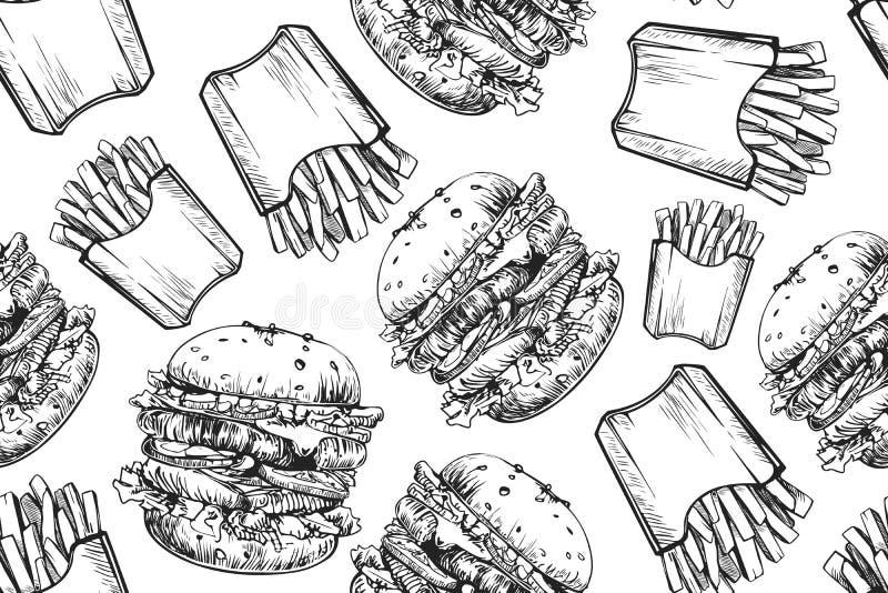 Картина бургеров безшовная Гамбургер руки вычерченный и французский картофель фри Фаст-фуд, картина высококалорийной вредной пищи иллюстрация вектора