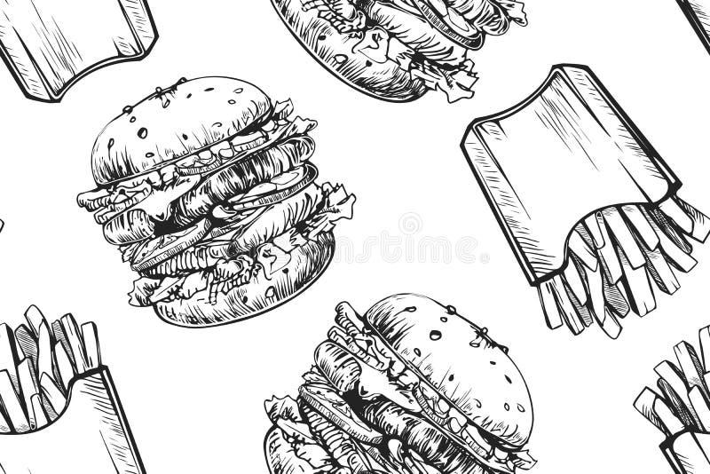 Картина бургеров безшовная Гамбургер руки вычерченный и французский картофель фри Фаст-фуд, картина высококалорийной вредной пищи бесплатная иллюстрация