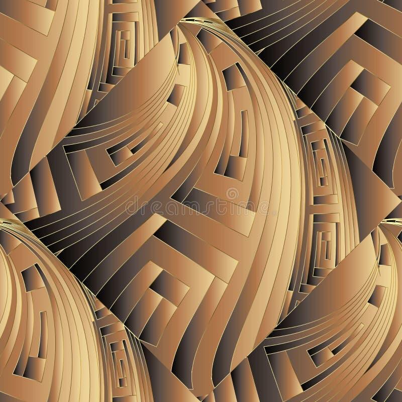 картина богато украшенного греческого вектора 3d безшовная Орнаментальная текстурированная геометрическая предпосылка Поверхностн бесплатная иллюстрация