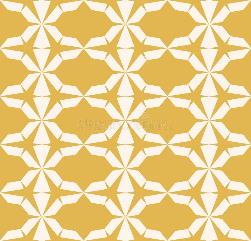 Картина вектора безшовная геометрическая Желтая текстура с треугольниками, шестиугольная решетка иллюстрация вектора