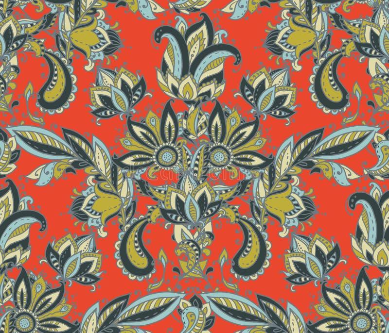 Картина вектора безшовная с элементами Пейсли руки вычерченными флористическими бесплатная иллюстрация