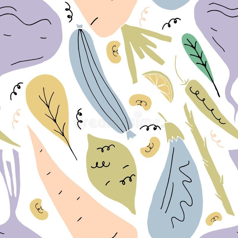 Картина вектора безшовная с фруктами и овощами в стиле мультфильма руки вычерченном бесплатная иллюстрация