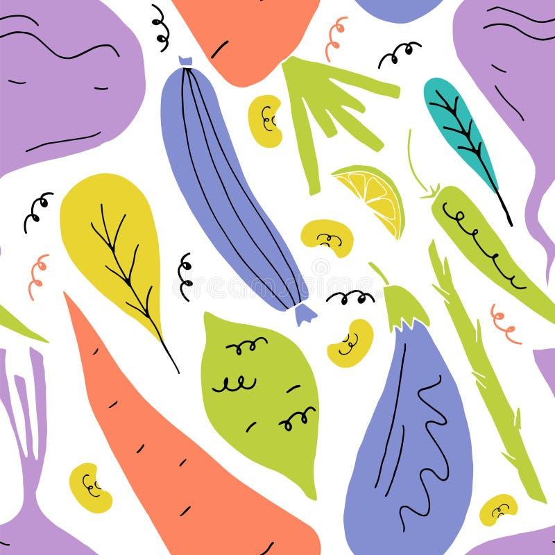 Картина вектора безшовная с фруктами и овощами в стиле мультфильма руки вычерченном иллюстрация вектора
