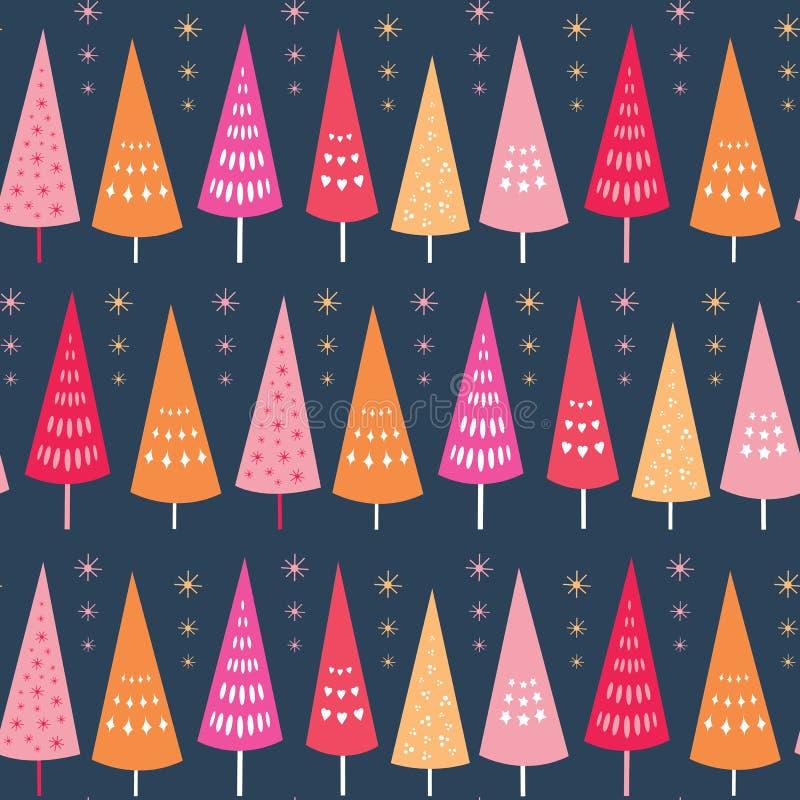 Картина вектора безшовная ярких деревьев и звезд Chrismas Поверхностный идеал предпосылки дизайна картины для рождества иллюстрация штока