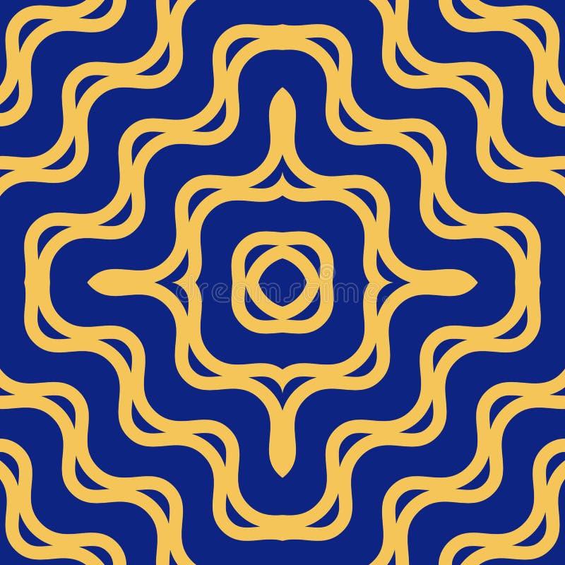 Картина вектора желтая и голубая безшовная с концентрическими волнами, изогнутыми линиями иллюстрация штока