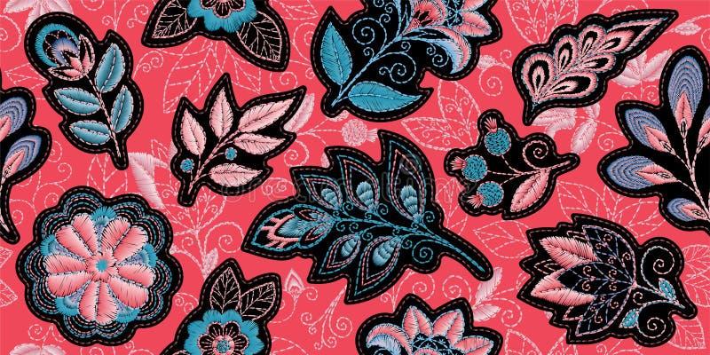 Картина вышивки безшовная с красивыми цветками Орнамент вектора handmade флористический на предпосылке коралла Вышивка для бесплатная иллюстрация