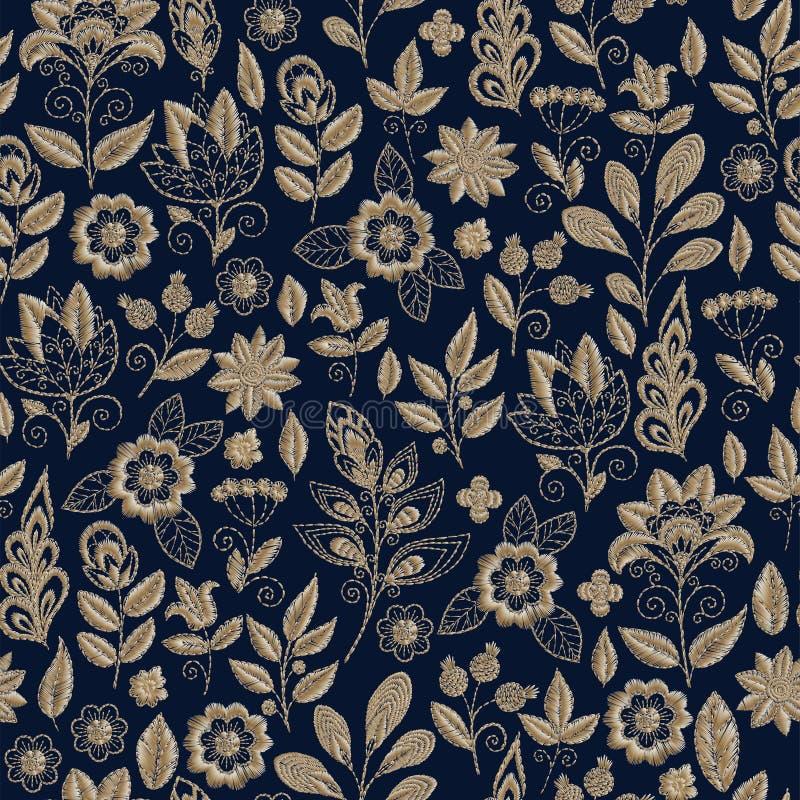 Картина вышивки безшовная с красивыми цветками Орнамент вектора handmade флористический на темной предпосылке Вышивка для бесплатная иллюстрация