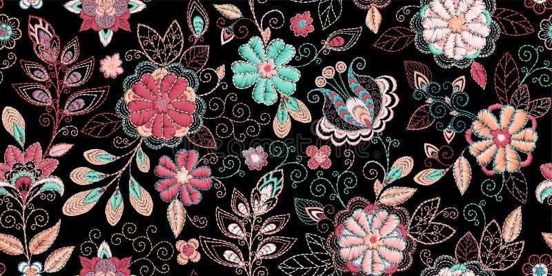Картина вышивки безшовная с красивыми цветками Орнамент вектора handmade флористический на темной предпосылке Вышивка для иллюстрация штока