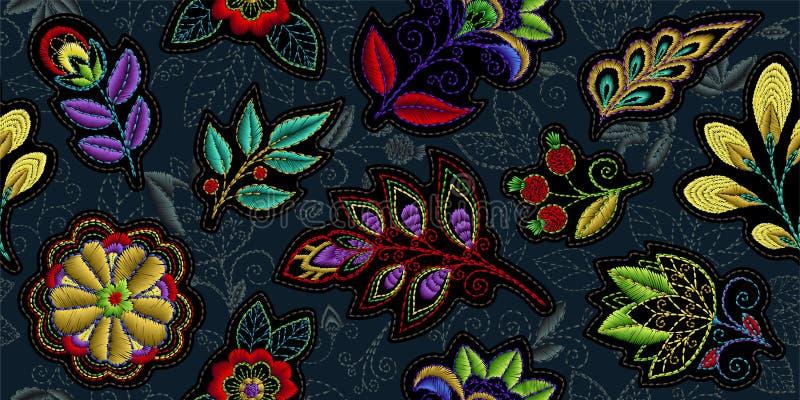 Картина вышивки безшовная с красивыми цветками Орнамент вектора handmade флористический на темной предпосылке Вышивка для иллюстрация вектора
