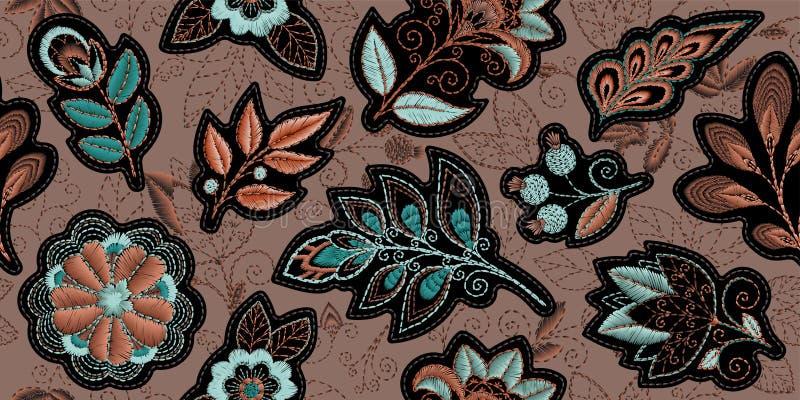 Картина вышивки безшовная с красивыми цветками Орнамент вектора handmade флористический на коричневой предпосылке Вышивка для бесплатная иллюстрация