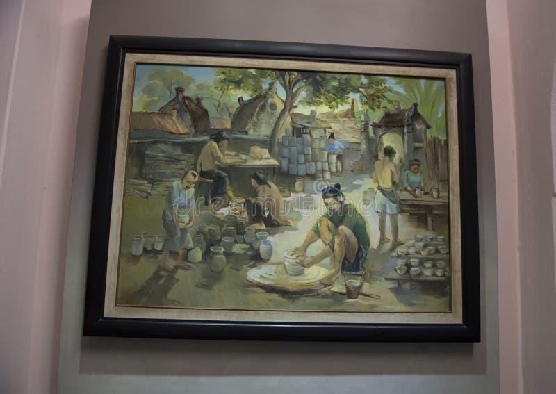Картина в тюрьме Hao Lo деревни гончарни которая была заменена зданием тюрьмы стоковое изображение