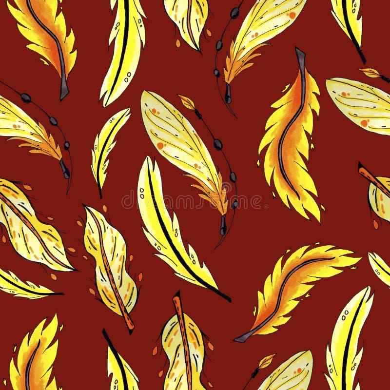 Картина желтых и оранжевых пер безшовная красочные пер птицы повторяя предпосылку для сети и цели печати стоковое фото