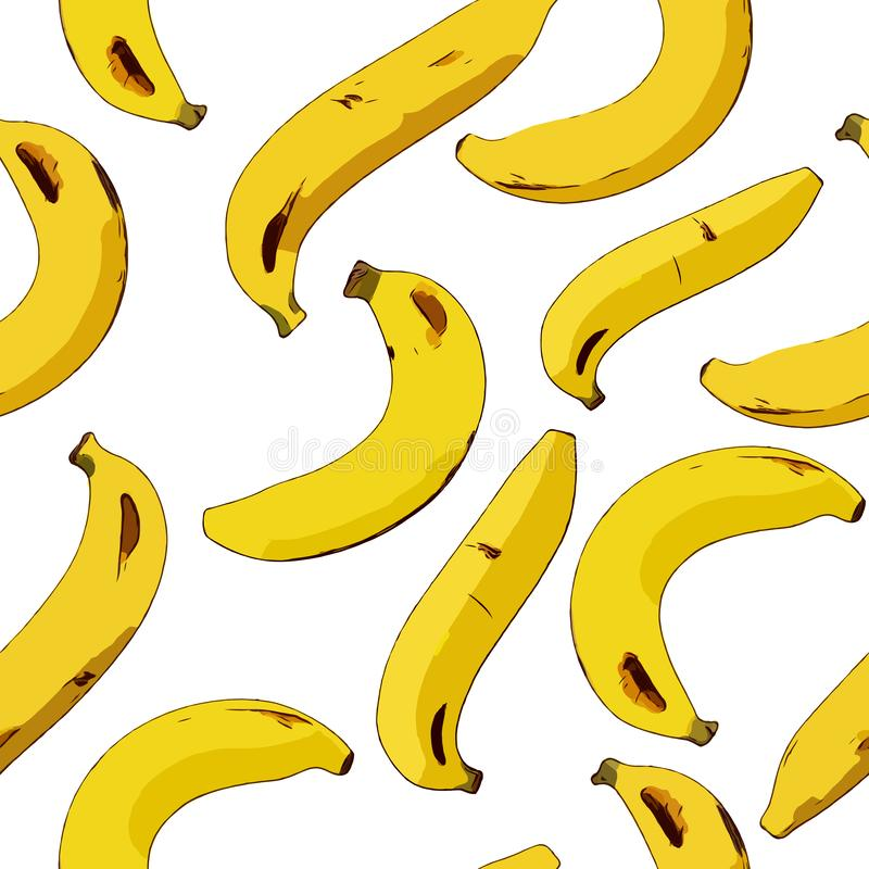 Картина желтого банана безшовная Зрелые бананы на белизне иллюстрация штока
