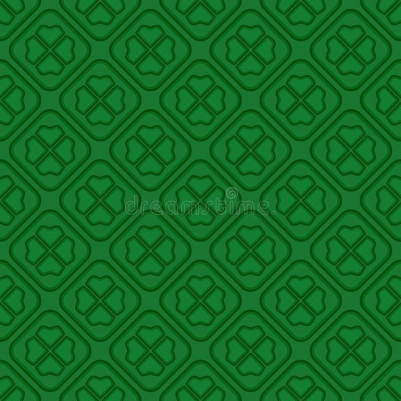 Картина зеленого вектора безшовная с клевером лист иллюстрация штока