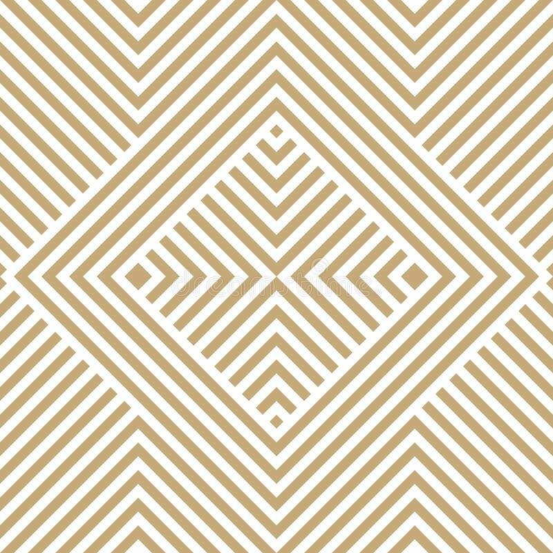 Картина золотого линейного вектора геометрическая безшовная с раскосными нашивками, квадратами иллюстрация штока