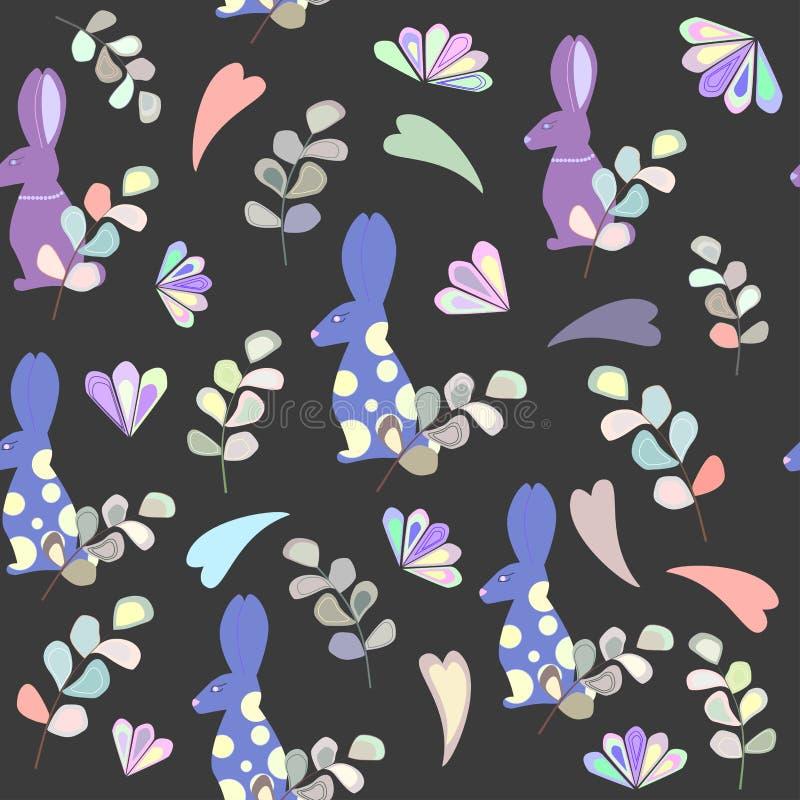 Картина кролика, листьев и цветков, покрашенных сердец иллюстрация штока