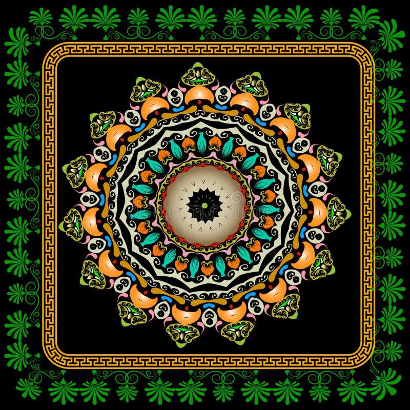 Картина мандалы Пейсли красочного винтажного вектора круглая Предпосылка этнического стиля орнаментальная с цветками и флористиче иллюстрация штока