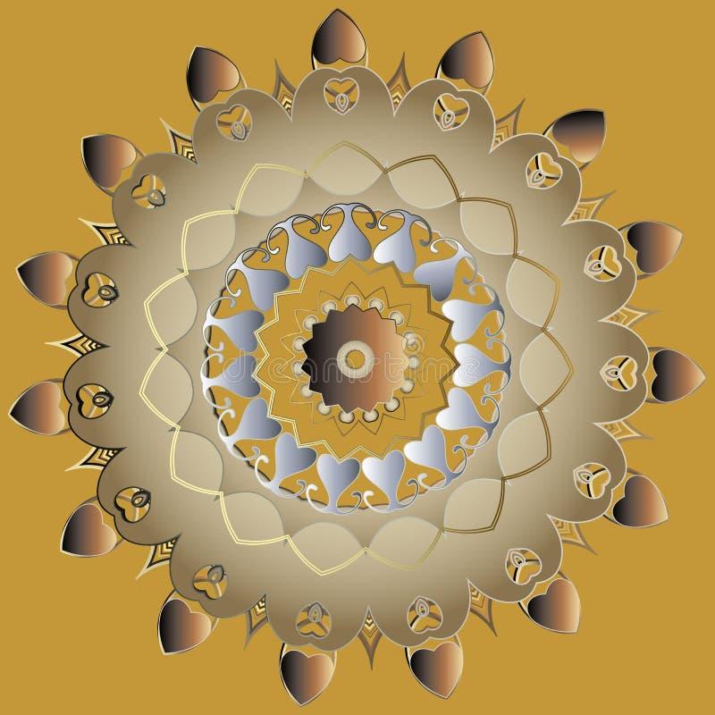 Картина мандалы стиля 3d Пейсли золота орнаментальная этническая Орнамент круга элегантности вектора флористический Сделанный по  иллюстрация штока