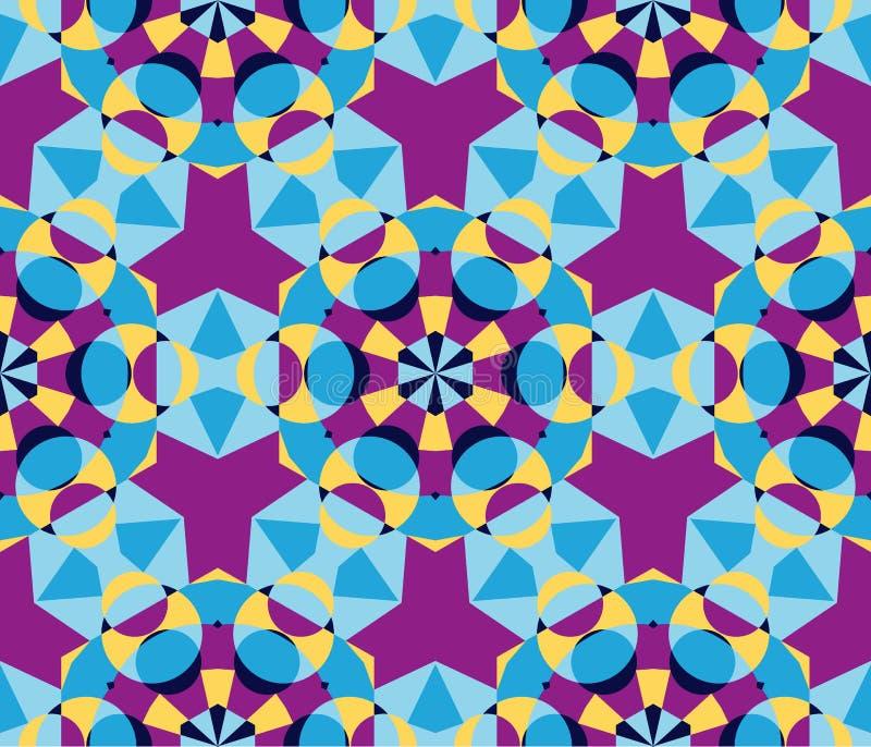 Картина милого калейдоскопа безшовная как абстрактные геометрические элементы иллюстрация вектора
