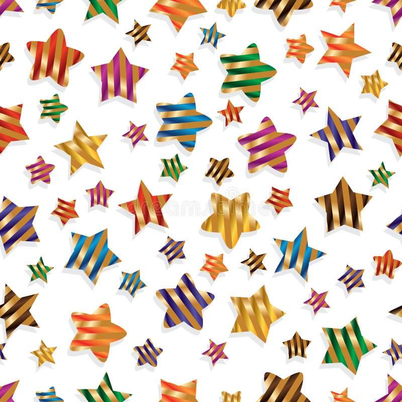 Картина нашивки ленты звезды красочная безшовная иллюстрация вектора