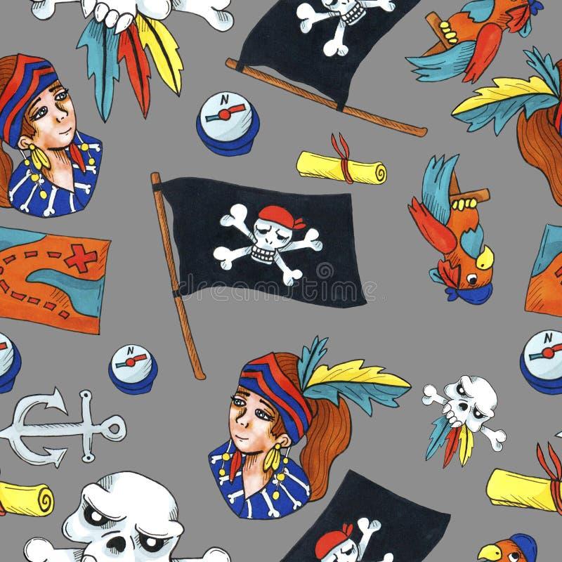 Картина пирата безшовная красочные объекты повторяя предпосылку для сети и цели печати бесплатная иллюстрация