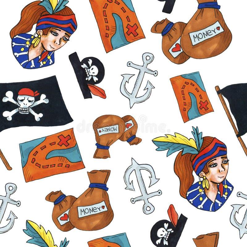 Картина пирата безшовная красочные объекты повторяя предпосылку для сети и цели печати иллюстрация штока