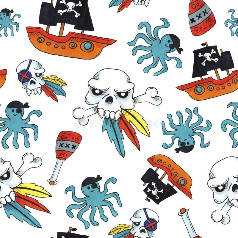 Картина пирата безшовная красочные объекты повторяя предпосылку для сети и цели печати стоковые изображения rf
