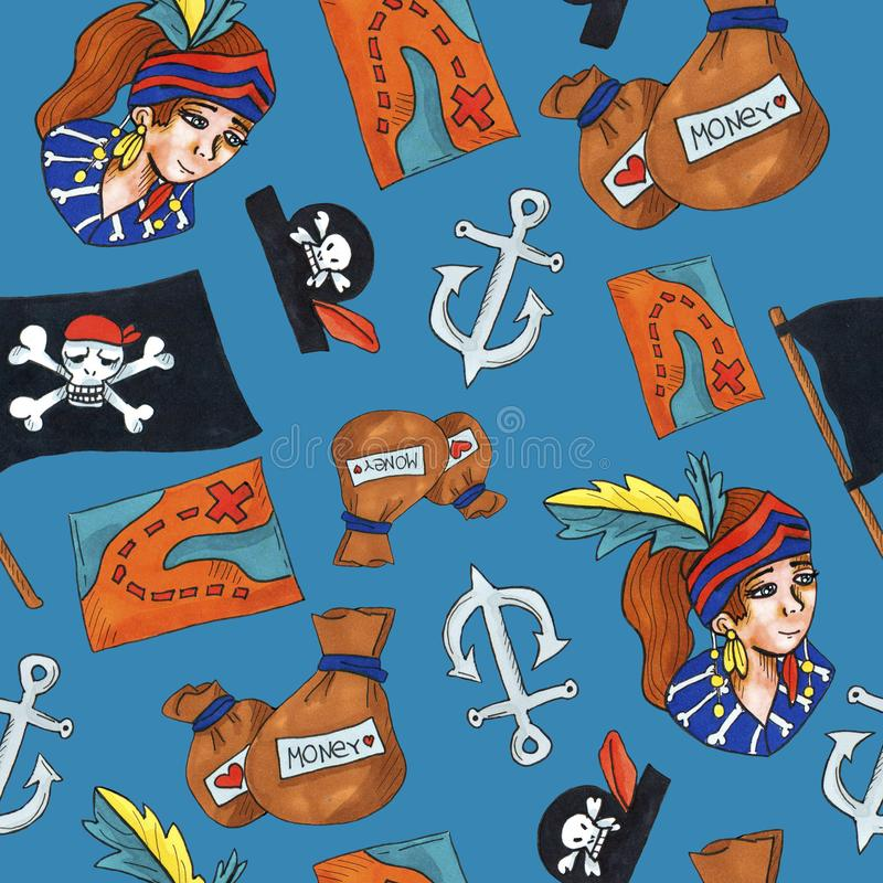 Картина пирата безшовная красочные объекты повторяя предпосылку для сети и цели печати иллюстрация вектора
