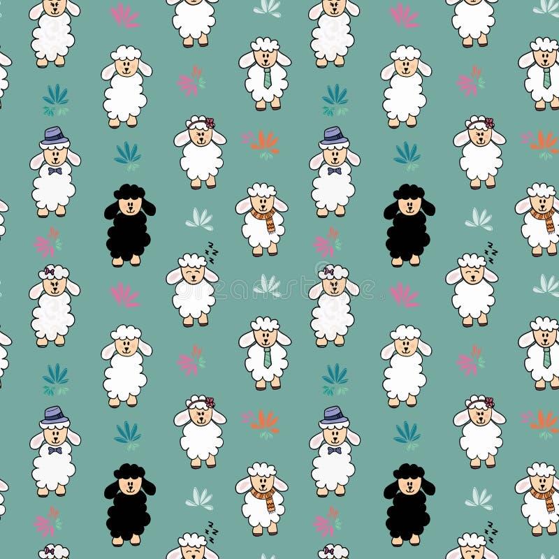 Картина предпосылки овец безшовного вектора смешная с цветком Овцы с различными аксессуарами иллюстрация штока