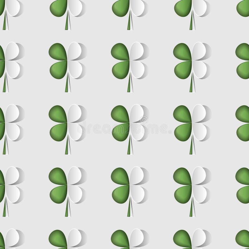 Картина стильного дня St. Patrick s конспекта безшовная с отрезанным клевером лист бумаги 3d также вектор иллюстрации притяжки co бесплатная иллюстрация