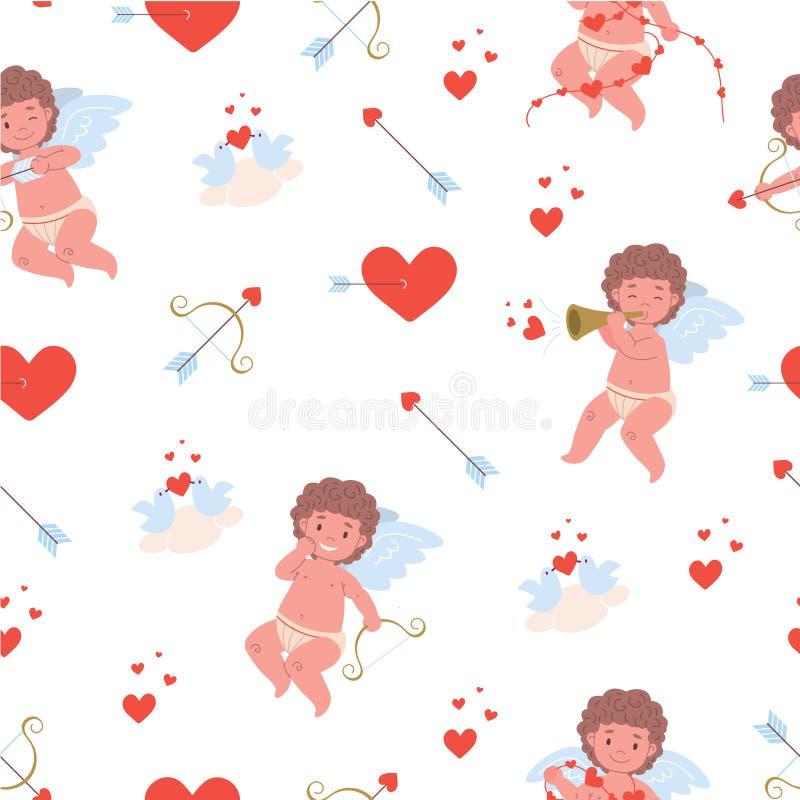Картина с купидонами летания смешными, красными сердцами, птицами в любов, луками и стрелы иллюстрация вектора