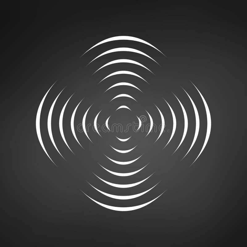Картина с симметричным геометрическим орнаментом для закручивая пропеллера черные линии круга влияние обмана зрения 3D вектор иллюстрация вектора