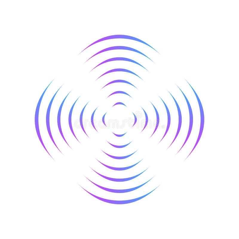 Картина с симметричным геометрическим орнаментом для закручивая пропеллера линии круга градиента влияние обмана зрения 3D вектор иллюстрация штока