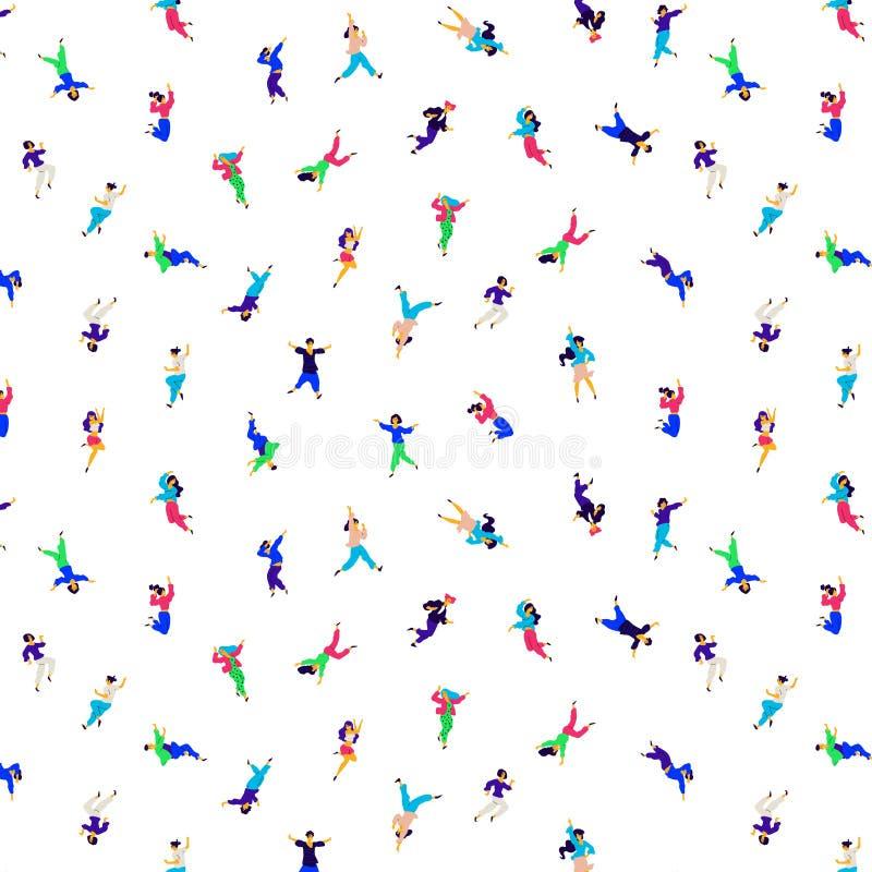 Картина танцуя людей в различных представлениях и эмоциях вектор Иллюстрации ярких людей и женщин Плоский стиль Орнамент бесплатная иллюстрация
