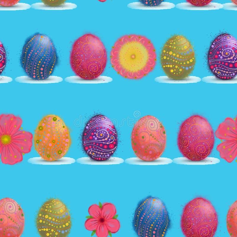 Картина цветков пасхального яйца и весны безшовная на предпосылке голубого неба иллюстрация штока