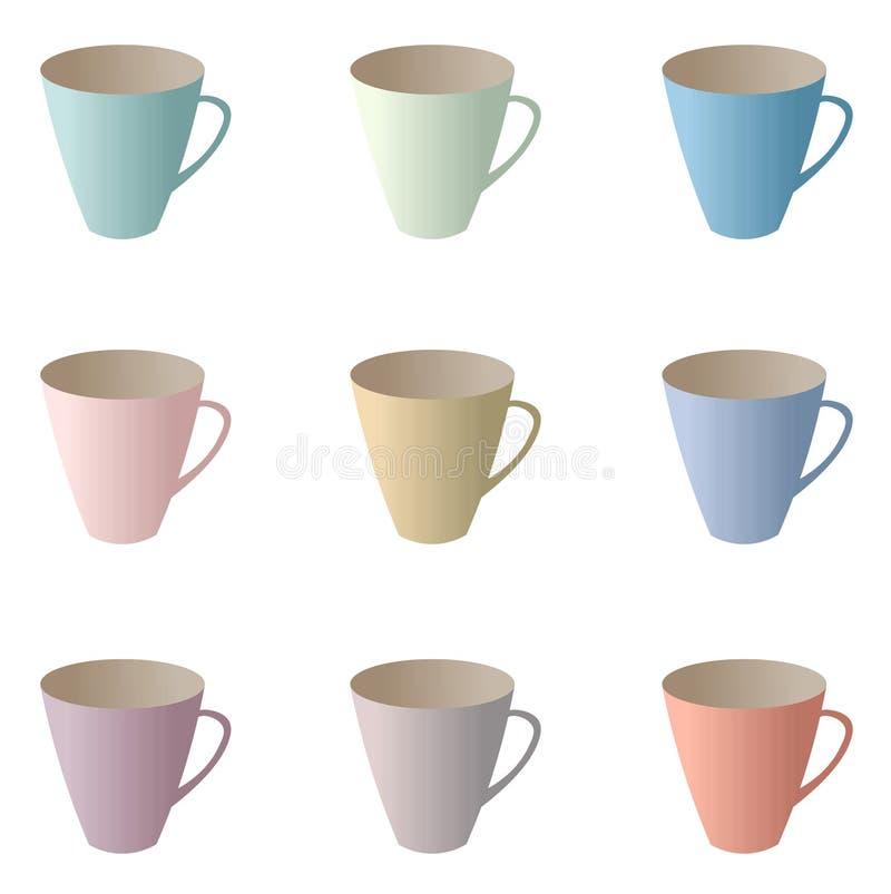 Картина чашек чая вектора красочная иллюстрация вектора