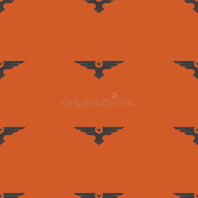 Картина хеллоуина безшовная, предпосылка праздника осени птицы сычей силуэта оранжевая бесплатная иллюстрация