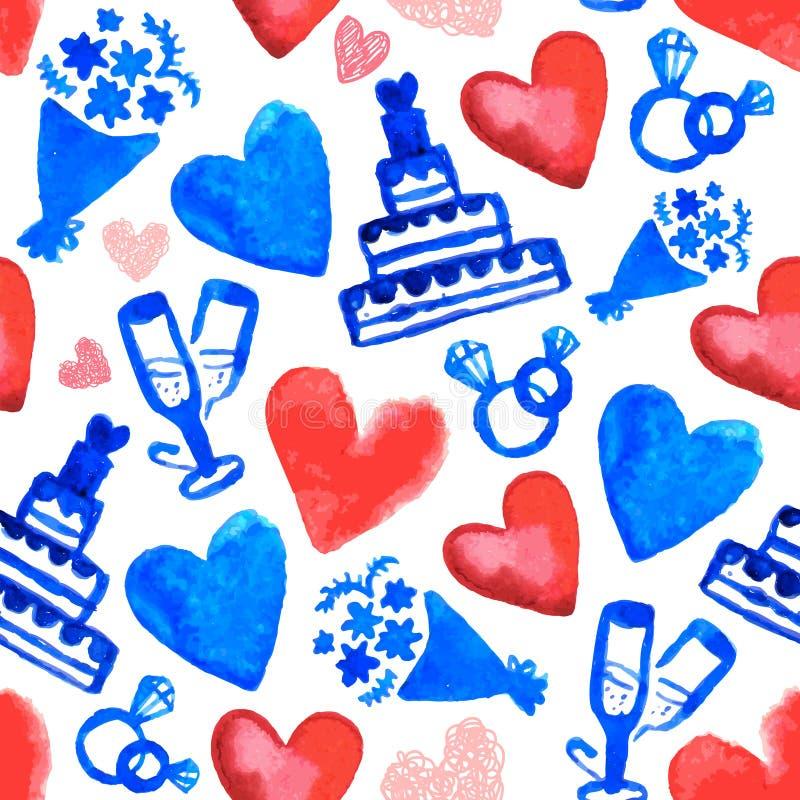 Картина руки вектора вычерченная романтичная безшовная Свадебный пирог, сердца doodle стиль, предпосылка года сбора винограда акв иллюстрация штока