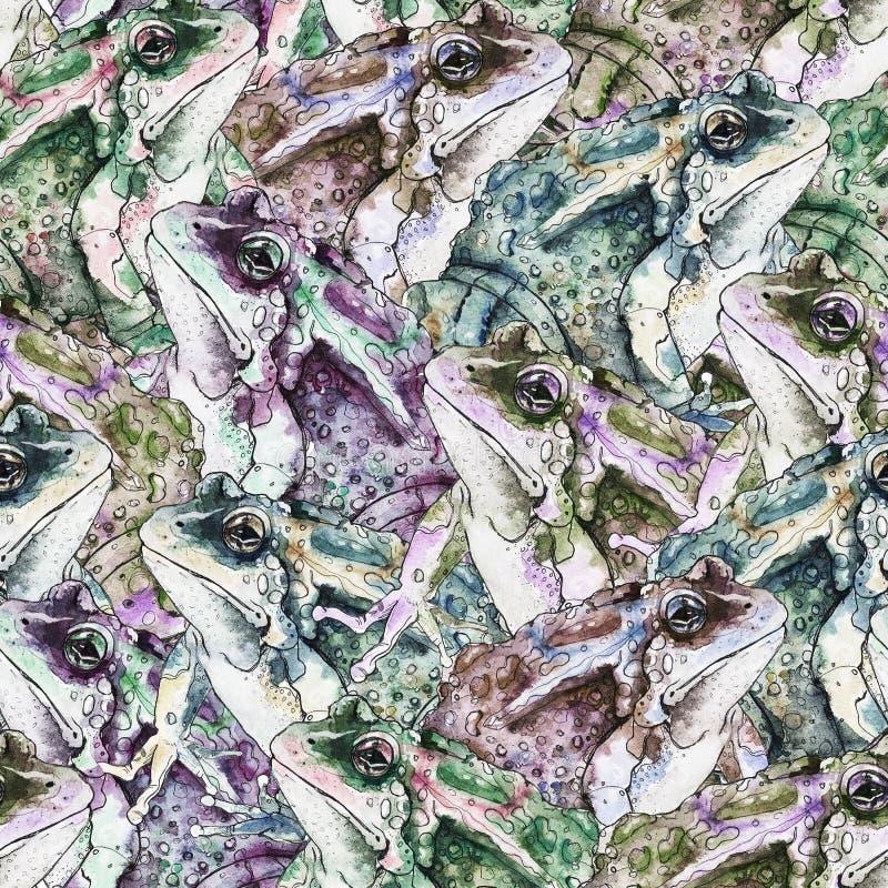 Картина руки вычерченная безшовная с лягушками иллюстрация штока