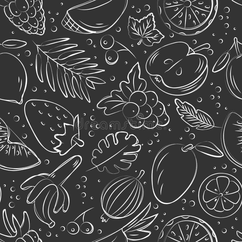 Картина руки вычерченная безшовная с плодами Комплект вектора стиля эскиза бесплатная иллюстрация