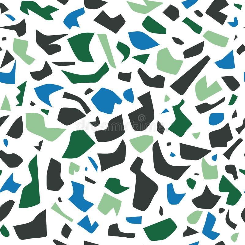 Картина terrazzo вектора безшовная, предпосылка настенной росписи с хаотическими пятнами иллюстрация вектора