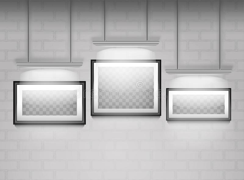 Empty frames on the white brick wall royalty free illustration
