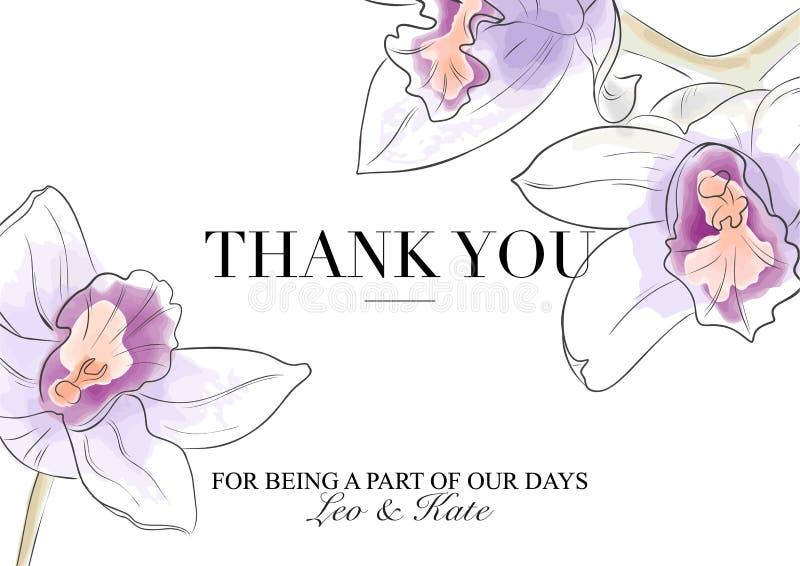 Карточка вектора спасибо Орхидеи Beuatiful в фиолетовых оранжевых цветах с текстом Иллюстрация watecolor руки вычерченная самомод бесплатная иллюстрация