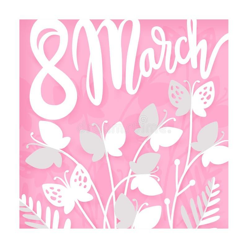 Карточка на день женщин 8-ое марта Международный счастливый день ` s женщин иллюстрация вектора