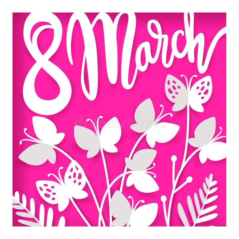 Карточка на день женщин 8-ое марта Международный счастливый день ` s женщин иллюстрация штока