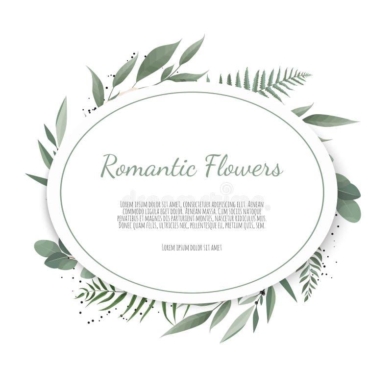 Карточка флористического дизайна вектора Приветствие, свадьба открытки приглашает шаблон Элегантная рамка с розовой и ветреницей иллюстрация вектора